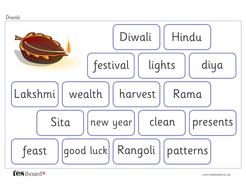 Diwali Vocabulary Mat - Creative Writing - Diwali KS1