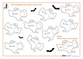 Onedigit Addition  Spooky Maths Worksheet  Halloween Ksks By  Onedigit Addition  Spooky Maths Worksheet  Halloween Ksks