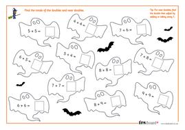 Adding Doubles - Spooky Maths Worksheet - Halloween KS1/KS2