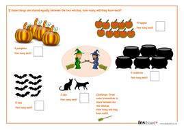 Dividing by 2 - Spooky Maths Worksheet - Halloween KS1/KS2