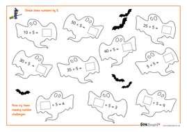 Dividing by 5 - Spooky Maths Worksheet - Halloween KS1/KS2