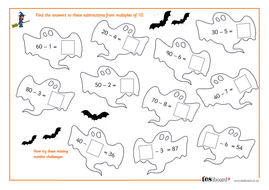 subtracting a onedigit number from a multiple of   spooky maths  worksheet