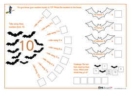 Subtraction from 10 - Spooky Maths Worksheet - Halloween KS1/KS2