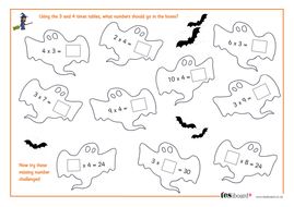 3 and 4 times tables spooky maths worksheet halloween ks1 ks2 by tes elements teaching. Black Bedroom Furniture Sets. Home Design Ideas