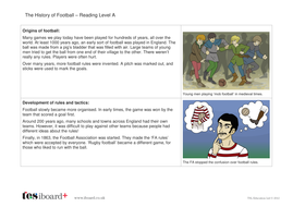 Comprehension Text and Question Worksheet (Reading Level A) - History of Football KS1