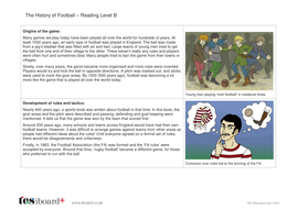 Comprehension Text and Question Worksheet (Reading Level B) - History of Football KS1