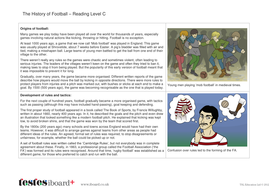 Comprehension Text and Question Worksheet (Reading Level C) - History of Football KS1