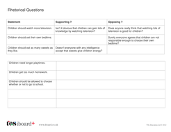 Rhetorical Questions Worksheet - KS2 Literacy by Tes_elements ...