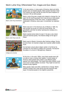Comprehension Text and Question Worksheet (Reading Level A) - Martin Luther King Jr. KS2