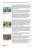 Comprehension Text and Question Worksheet (Reading Level B) - Martin Luther King Jr. KS2