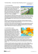 Comprehension Text and Question Worksheet (Reading Level C) - The World Wars KS2