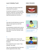Leon's Wobbly Tooth Storybook - Early Reader Level - PSHE KS1