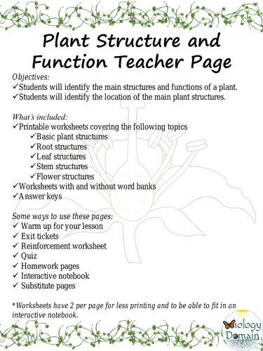 Plant Structure and Function Worksheets | Teaching Resources
