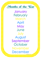 months of the year poster and cards set by littlepeoplelove