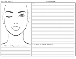 Btec L3 Ual Make Up Mu Face Charts Peer Feedback Snazaroo Colour Key Practical Applications