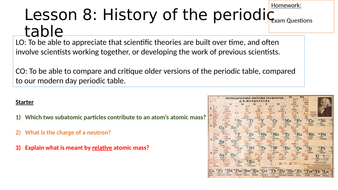 history of the periodic table research lesson