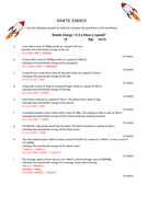 Kinetic Energy Calculation Worksheet | Teaching Resources