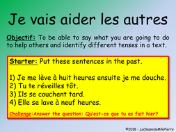 Allez 1- Unit 9 4 - Using 3 tenses - volunteering - KS3 French