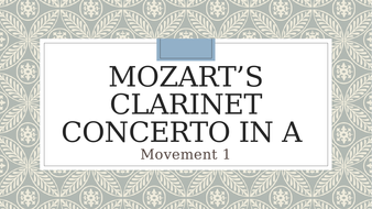 Mozart's Clarinet Concerto in A Mvt 1
