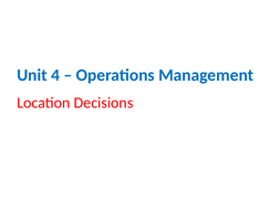 IGCSE Business Studies - Section 4 - Operations Management