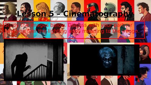 Eduqas GCSE (9-1) Film Studies introductory unit (horror genre) cinematography for comp 3. Lesson 6