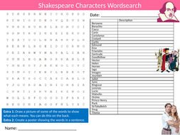 Shakespeare Characters Wordsearch Sheet Starter Activity Keywords Cover  English Literature
