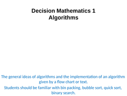 Decision Mathematics 1 (Algorithms) A Level PowerPoint