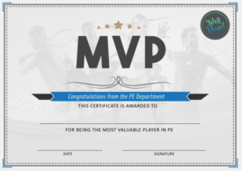 pe physical education mvp certificate by ca1993 teaching resources