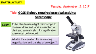 AQA new specification-REQUIRED PRACTICAL 1-Microscopy-B1
