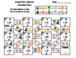 Double Digit Addition Without Regrouping Game Halloween Math Maze