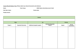 Assess Plan Do Review Template Forms And Process By LBDavies - Process review template