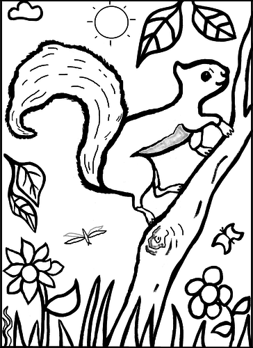Squirrel in Woods Colouring Sheet