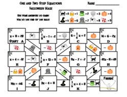 Solving One and Two Step Equations Game: Halloween Math Maze