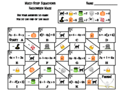 Solving Multi Step Equations Game: Halloween Math Maze