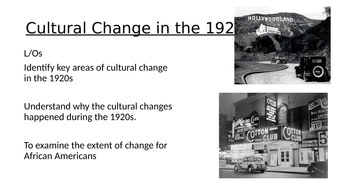 USA Boom Bust and Recovery - Cultural Change 1920s