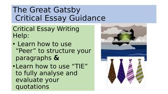 the great gatsby critical essay guidance powerpoint higher gcse
