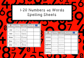 Numbers as Words 1 to 20 - Spelling Sheets (Cursive Included)