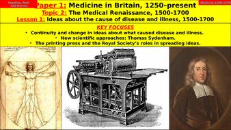 Edexcel GCSE Medicine in Britain, Topic 2 - Medical Renaissance, Lesson 1 - Causes Disease Illness