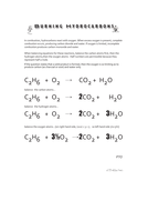 balancing equations for burning hydrocarbons.
