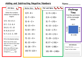 Adding and Subtracting Negative Numbers Differentiated Worksheet by ...