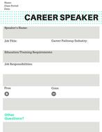Career Speaker Worksheet