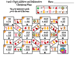 Christmas Math.2 And 3 Digit Addition And Subtraction With Regrouping Christmas Math Maze