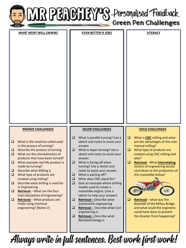 Free adaptable personalised feedback and challenge sheet