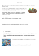 Plastic waste - Life Cycle Assessment