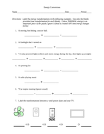 Types of Energy Conversion / Conservation Worksheet by FeedYourBrain ...