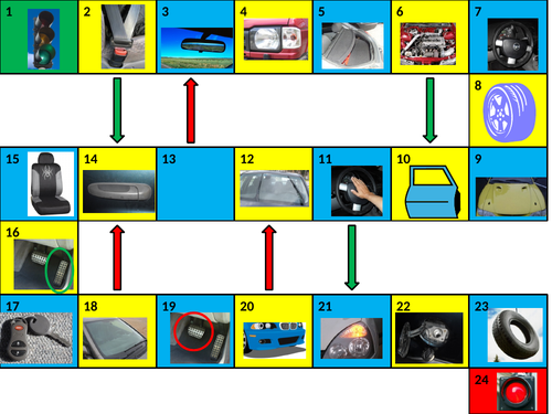 Car Parts and Vehicles Game Board PowerPoint