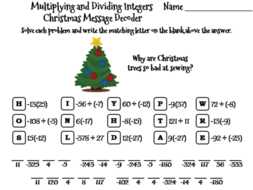 Christmas Math.Multiplying And Dividing Integers Christmas Math Activity Message Decoder