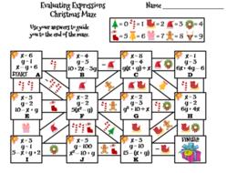 Christmas Expressions.Evaluating Algebraic Expressions Activity Christmas Math Maze