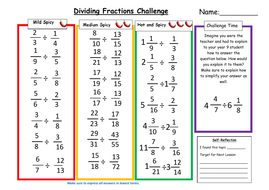 Dividing Fractions Differentiated Worksheet by MsMMaths - Teaching ...