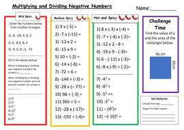 Multiplying and Dividing Negative Numbers Differentiated Worksheet ...